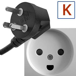 Typ elektrickej zástrčky K